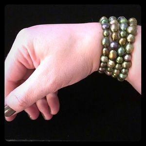 Freshwater Pearl Stretch Bracelets in Green